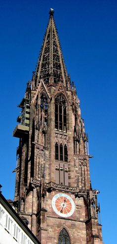 LATE GOTHIC, Germany - Freiburg tower by Johannes Hûltz, 1330.The Swiss historian Jacob Burckhardt once said that the Freiburg church's 116-meter tower will forever remain the most beautiful spire on earth. His remark gave rise to the frequently heard misquote of the most beautiful tower in the whole of Christianity. The Freiburg tower is the only Gothic church tower in Germany that was completed in the Middle Ages (1330).