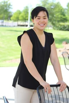 Woman wearing black flutter top with crop pants for casual friday | Skirt the Ceiling | http://skirttheceiling.com