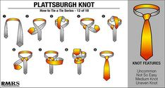 'How to Tie a Tie' Part - Plattsburgh Knot Other in the series : Four in Hand Knot // Half Windsor Knot // Full Windsor Knot // Nicky Knot // Bow Tie // Kelvin Knot // Oriental Knot // Pratt. Tie Knot Steps, Bow Tie Knot, Half Windsor, Windsor Knot, Four In Hand Knot, Eldredge Knot, Tie A Necktie, Necktie Knots, Vanities