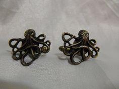 Steampunk Nautical Octopus Cufflinks Bronze Mens by AGothShop, $18.50