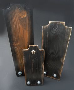 Necklace Display Jewelry Display  SET OF 3 Necklace Stand Wood Vintage Industrial. $120.00, via Etsy.