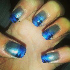 Blue zebra nail design