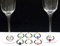8 Wine Glass Charms, 2 Wine Bottle Charms, Custom Orders Welcome, 24 KT Gold Seed Beads, Swarovski Crystals, You can choose colors by winecharmersandmore. Explore more products on http://winecharmersandmore.etsy.com