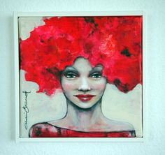 Small portrait of a woman with bright vivid red hair.  NOTE: The painting is labeled for sale as not framed, but has a frame of white painted wood strips, with a depth of about 3.5 cm, made by th...
