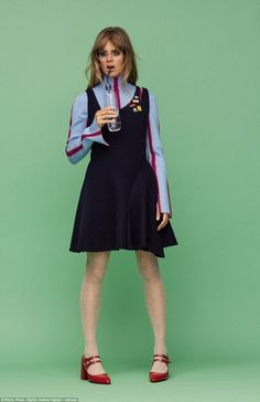 Style icon:The 26-year-old looks chic in Miu Miu, Paul & Joe and Gucci outfits as she pos...