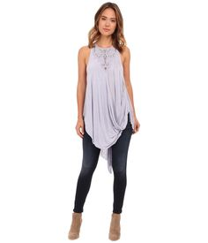 Free People Women's Blue New World Jersey Aiden Top M