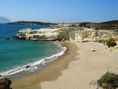 Triades Milos: Three secluded sandy beaches with crystal clear shallow waters, placed one after another. The bucolic landscape is a sandy blond closed between rocks. The journey is long, but the eerie beauty will compensate.