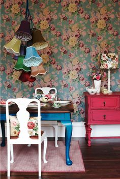 fun chandelier. wallpaper. colors. Love!!!