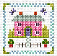 This Pin was discovered by Cha Tiny Cross Stitch, Cross Stitch House, Cross Stitch Bookmarks, Cross Stitch Cards, Simple Cross Stitch, Cross Stitch Flowers, Cross Stitch Kits, Cross Stitch Designs, Cross Stitching