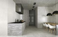 Elegancia, vanguardia y diseño en este pavimento para cocina de dimensiones 44,7 x 44,7, combinado con un revestimiento de 33,3 x 100 con múltiples posibilidades de combinación