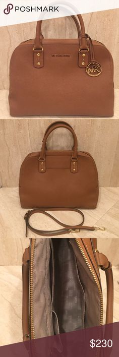 MICHAEL KORS Large Saffiano Leather Satchel AUTHENTIC Michael Kors leather satchel in camel. Practically brand new--used 3 to 5 times. In perfect condition!! Comes with large adjustable strap that can be worn on the shoulder. Dual handles. Large inside zipper pocket and four open side pockets. *** price negotiable! Michael Kors Bags Satchels