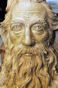 """"""" Moses - Man of God """", close up carved by Gerald Copeland."""