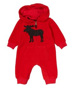 This Red Moose Fleece Hoodie Playsuit - Infant is perfect! #zulilyfinds
