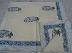 Indian Hand Made Hand Block Printed 100% Cotton Bed Cover Bed Sheet Table 008 #Handmade