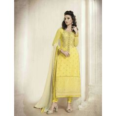 Yellow Georgette Party Wear #Churidar Kameez With Dupatta- $55.14