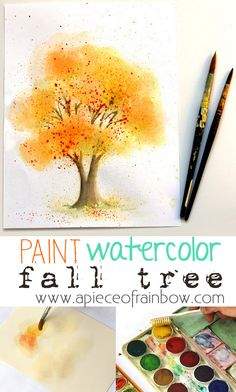 Easy Watercolor Painting Tree (with Fall Colors!) Learn Unconventional and fun Watercolor Painting methods on How to Paint a beautiful Watercolor Tree! - A Piece Of Rainbow Learn Watercolor Painting, Fall Tree Painting, Watercolor Painting Techniques, Watercolor Trees, Easy Watercolor, Watercolour Tutorials, Painting & Drawing, Knife Painting, Art Plastique