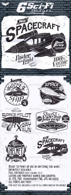 6 Sci-Fi Badges Template | Buy and Download: http://graphicriver.net/item/6-scifi-badges/8447112?WT.ac=category_thumb&WT.z_author=PaperBat&ref=ksioks