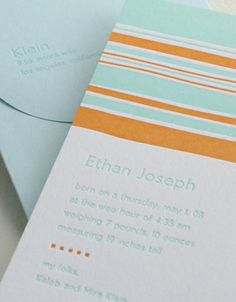 """Finger Paint"" letterpress birth announcement from Elum Designs. Customize  yours with Paper Passionista."