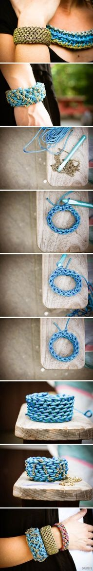 crochet bracelet with chain woven throughout ~