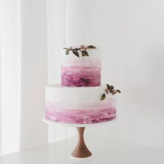 Hand-painted watercolor ombre wedding cake // Winifred Kristé Cake #plum #berry #purple