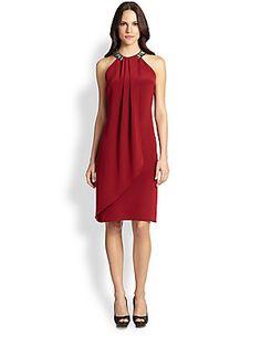 Carmen Marc Valvo Jeweled Halter-Neck Dress