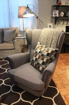 The IKEA STRANDMON wing chair is a comfortable piece with a classic look. Great for reading and relaxing!