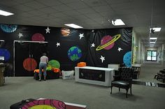 """The Noble Family: VBS"" this is neat! Space Theme Classroom, Classroom Decor, Vbs Themes, School Themes, Vbs Crafts, Space Crafts, Space Projects, Sistema Solar, Outer Space Decorations"