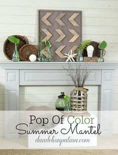 Do you want to enjoy a pop of color in your home this summer but don't want to break the bank doing it? This is a simple summer mantel showcasing Mother Nature's greenery from your backyard and some gorgeous Birch Lane bud vases from Wayfair.