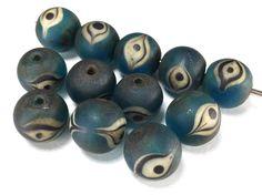 Lot 12 Old Islamic Glass Bead Eye Decorated BLUE Aqua Rare Handmade Beads M115 picclick.com
