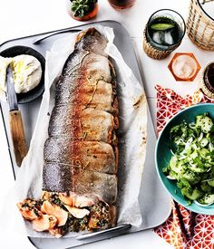 Barbecued ocean trout with cucumber and labne recipe :: Gourmet Traveller