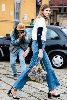 Cropped denim + block heels.