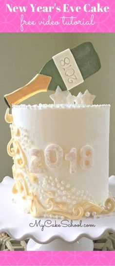 Free Cake Video Tutorial for a New Year's Eve Cake with a Champagne Theme! This design would also be great for any occasion that calls for pouring the champagne! Anniversaries, engagement parties, and more!