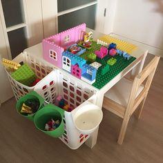 Lego Table With Storage, Lego Storage, Storage Ideas, Lego Duplo, Legos, Infant Activities, Activities For Kids, Lego Hacks, Diy Lego