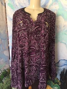 RAFAELLA PLUS XXL PURPLE PAISLEY FAUX LEATHER SPLIT NECK LONG SLEEVE TUNIC TOP #Rafaella #Tunic #Casual