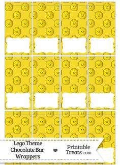 Yellow Lego Theme Mini Chocolate Bar Wrappers--- https://www.pinterest.com/printabletreats/lego-theme-printables/