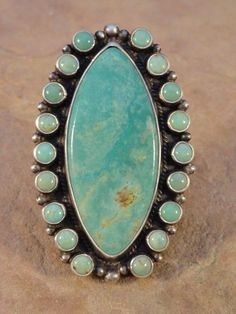 Dean Brown Navajo Sterling Silver & Turquoise Cluster Ring sz. 9 1/2 #SterlingSilverTurquoise