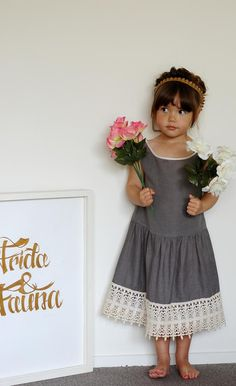 gray linen, full skirt, and lace trim dress // Frida and Fauna