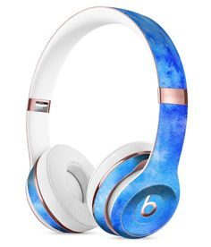 Washed Ocean Blue 402 Absorbed Watercolor Texture Full-Body Skin Kit for the Beats by Dre Solo 3 Wireless Headphones