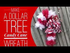 How To Make a Dollar Tree Candy Cane Wreath / Decorate for Christmas Christmas Tree Village, Candy Cane Christmas Tree, How To Make Christmas Tree, Dollar Tree Christmas, Christmas Tree Wreath, Whoville Christmas, Christmas Porch, Candy Cane Decorations, Christmas Decorations