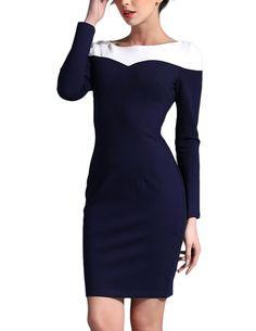 JOLLYCHIC Women's Color Block Long Sleeve Round Neckline Slim Style Simple Dress Size 2 US White