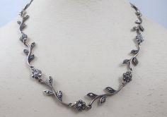 Vintage Sterling Marcasite Necklace Flower by TonettesTreasures