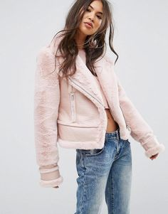 #ASOS - #PrettyLittleThing PrettyLittleThing Faux Suede Avaitor Jacket - Pink - AdoreWe.com