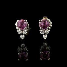 14K White Gold Pink Sapphire and Diamond Studs