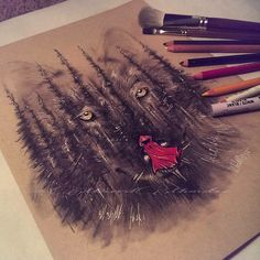 Wolf in trees red riding hood