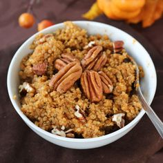 Pumpkin Spice Breakfast Quinoa - a higher protein, fall-flavored alternative to your morning oatmeal!