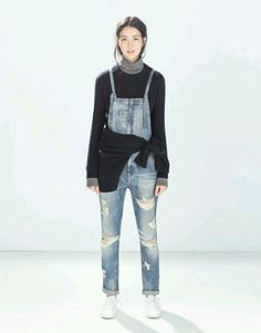 ZARA long denim overalls dungarees distressed frayed jeans BNWT S jumpsuit jean in Kleidung & Accessoires | eBay
