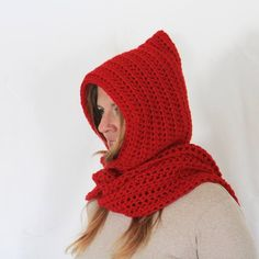 Red hooded scarf, open ends scarf with hood, red scoodie, long hooded scarf, Calypso Long Knitted Hats, Crochet Hats, Hooded Scarf, Winter Day, Wool Yarn, Gifts For Women, Cowl, Hoods, Winter Fashion