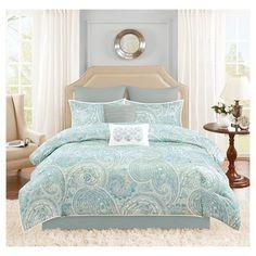 Kashmir 8 Piece Distressed Paisley Comforter Set - Turquoise (Queen) : Target