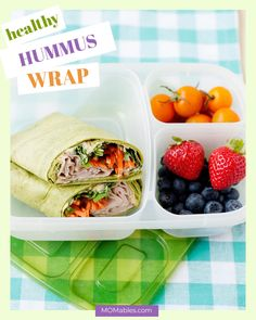 This hummus wrap made with fresh veggies and deli turkey is a healthy-packed lunch idea everyone will love! Healthy School Lunches, Healthy Packed Lunches, Turkey Wraps, Grilled Sandwich, Fresh Rolls, Meal Prep, Meal Planning, Favorite Recipes, Meals