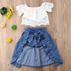 Lace White Top Self Belt Skirt Sets Toddler Girl Outfits Belt Lace Sets Skirt Top white Cute Toddler Girl Clothes, Toddler Girl Outfits, Baby Girl Dresses, Baby Outfits, Baby Girls, Baby Boy, Clothes For Kids, Dress Outfits, Girls Denim Dress